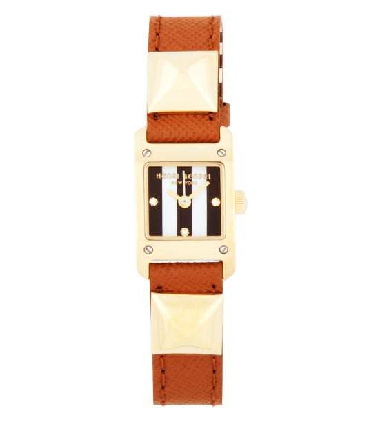 I used to wear a watch every single day . . . and then I got an iPhone. I don't like that a smartphone took away one of my smartest accessories, so I'm hoping this Henri Bendel Samantha watch ($178) will be a happy addition to my wardrobe. And with its unique Saffiano leather strap, studs, and striped timepiece, it will certainly keep my interest every single day. — KS