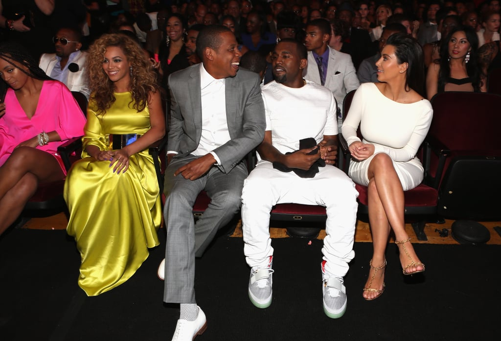 Beyoncé and Jay-Z linked up with Kanye West and Kim Kardashian at the July 2012 BET Awards.