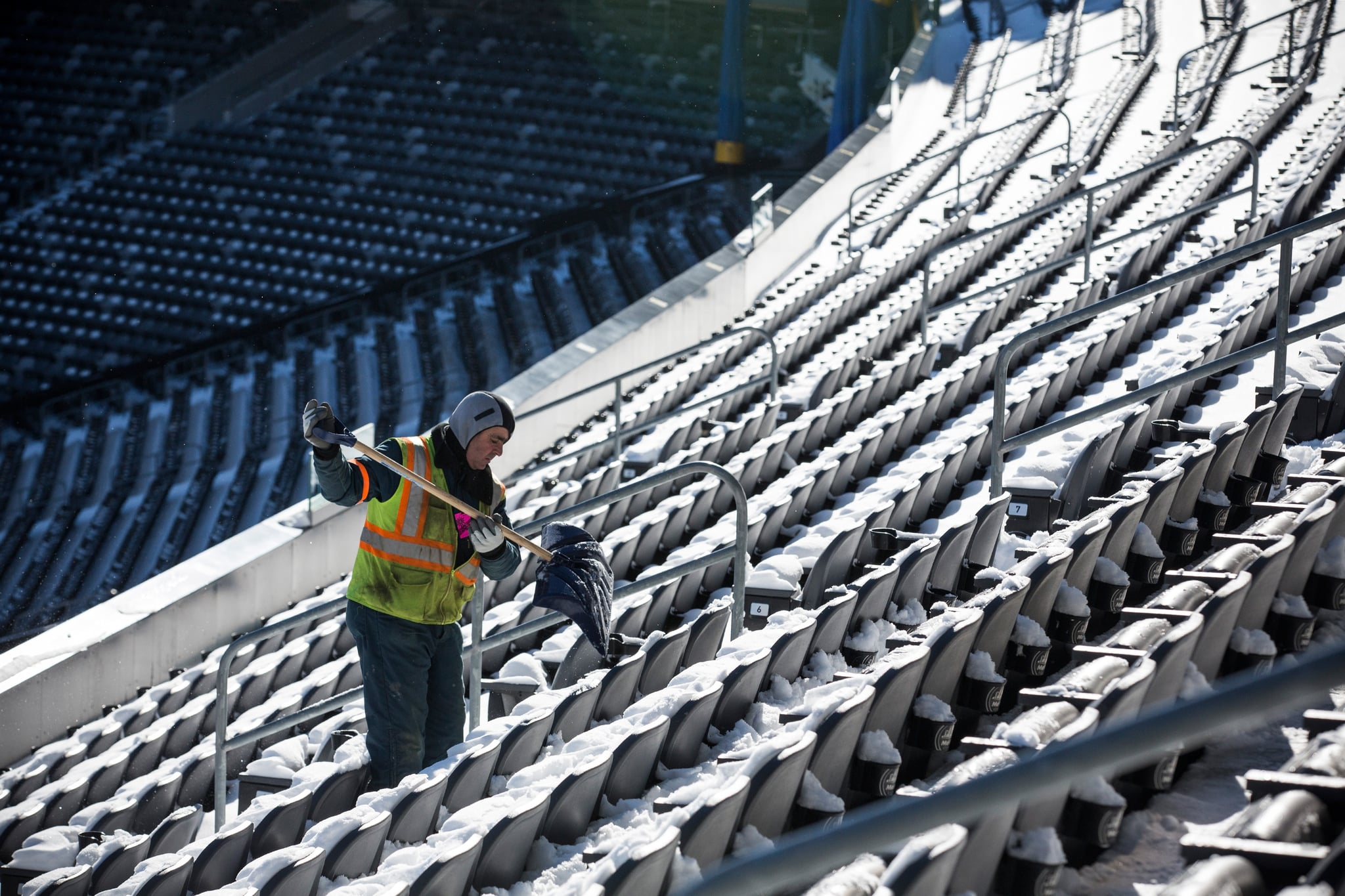 And this year, workers are literally shoveling snow off the seats of the New Jersey stadium.
