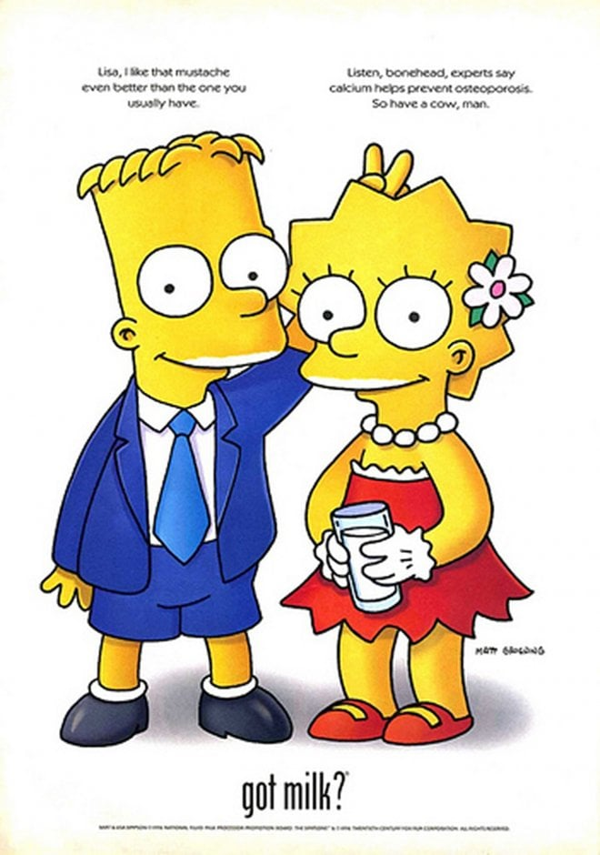 """Bart and Lisa Simpson goofed off in their """"Got Milk?"""" ad."""