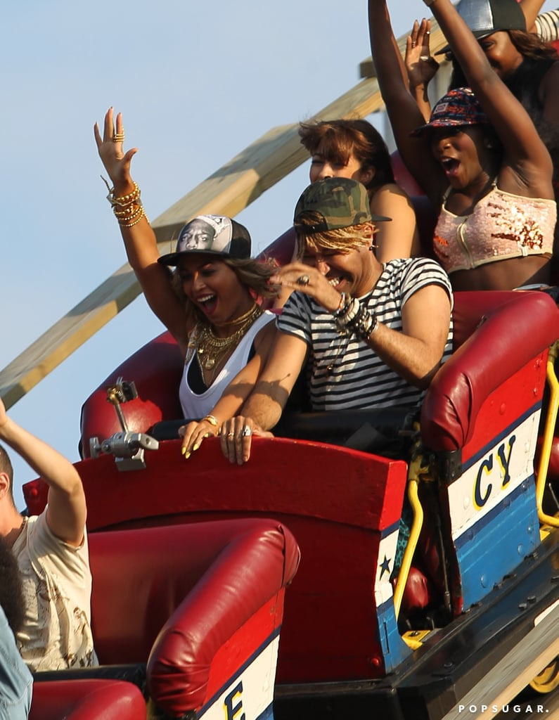 Beyoncé Knowles rode the Cyclone during her long day at Coney Island.