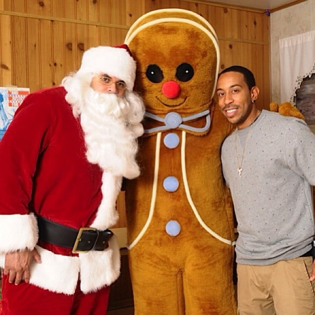 Ludacris did charity work with a Santa and a giant gingerbread man.  Source: Instagram user itsludacris