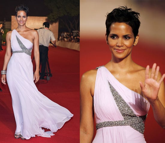Actress Halle Berry Attends the 12th Annual Shanghai International Film Festival in Lavender Marchesa