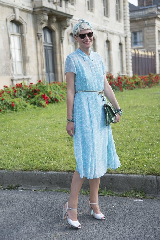 Short sleeves and a defined waist made Elisa Nalin's knee-length dress feel sweetly retro.