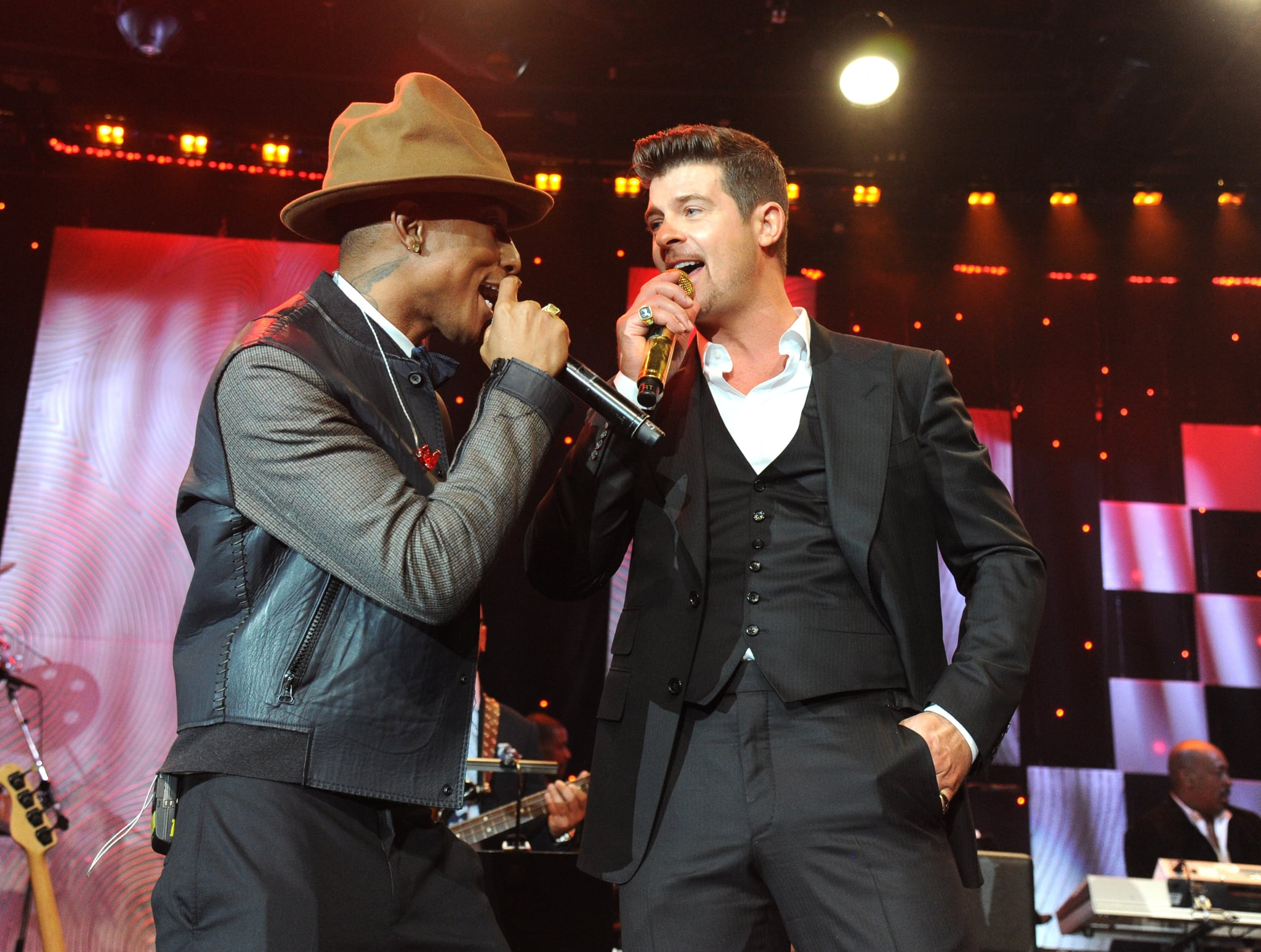 The couple performed on stage with Robin Thicke during a Grammys gala.