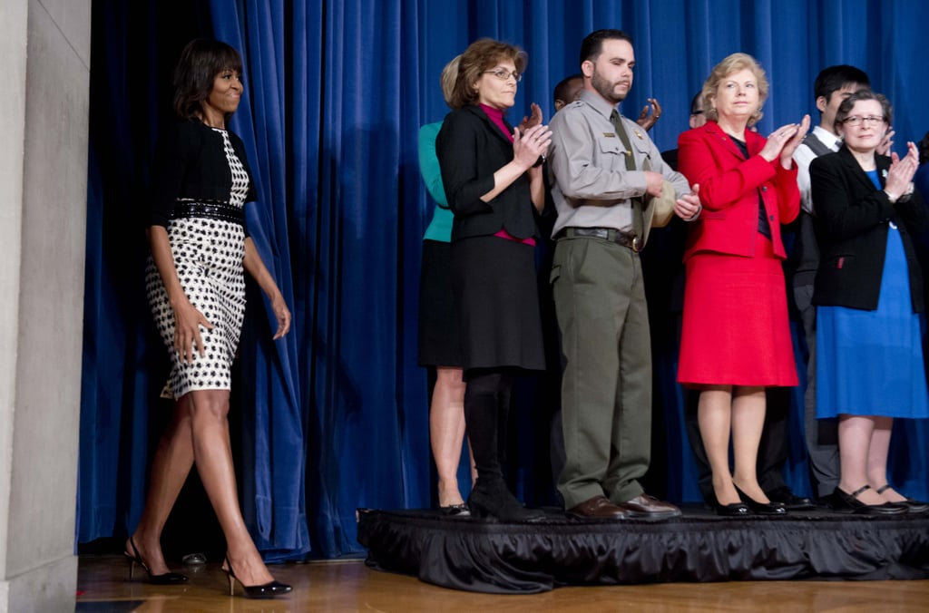 For a speaking engagement at the Department of the Interior in April, Michelle Obama selected a polished, printed Jason Wu sheath and a cropped jacket.