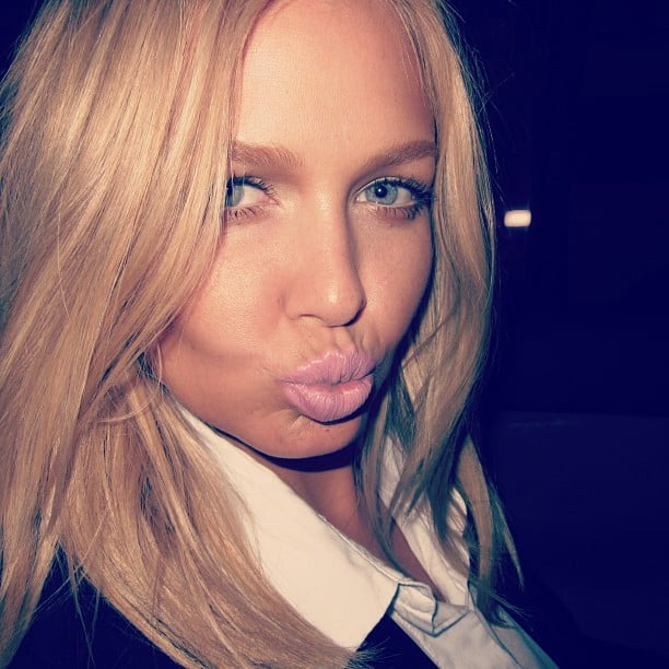 Lara Bingle pouted for the camera — love her frosty pink lip! Source: Instagram user mslbingle