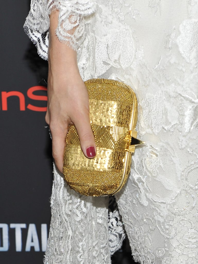 A closeup on her gold Elie Saab clutch.