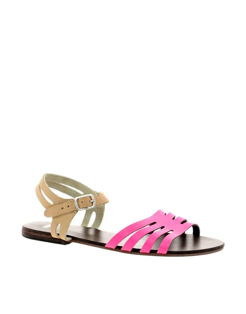 The hot-pink straps on this ASOS buckler ($31) get tempered with nude.