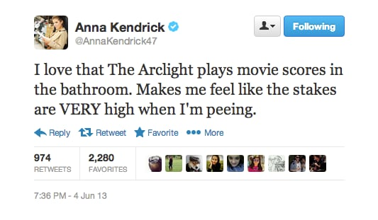 We're picturing Anna Kendrick, the dramatic score from Atonement, and a lot of slow-motion sobbing/peeing.