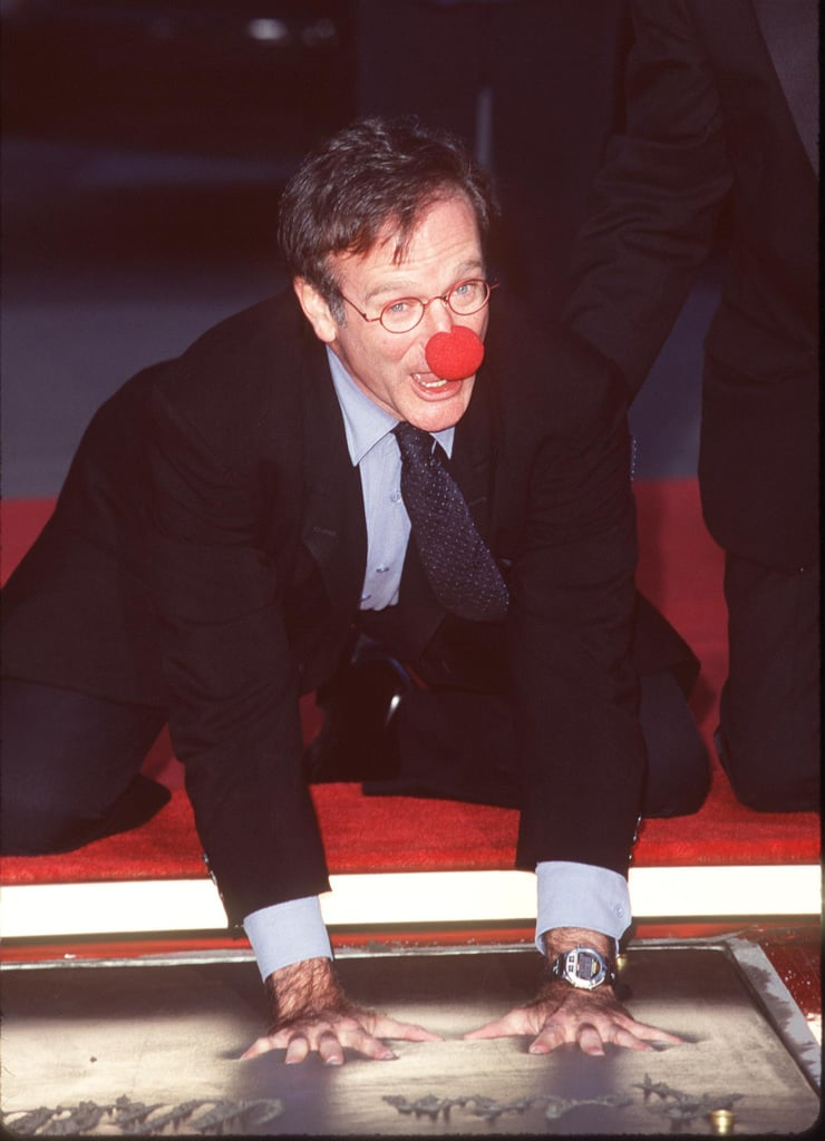 He was his usual silly self during his hand and footprint ceremony on the Hollywood Walk of Fame in December 1998.