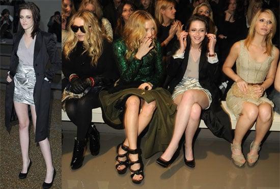 Photos of Kristen Stewart Smiling at Burberry at London Fashion Week Plus Kate Hudson, Mary-Kate Olsen, Jamie Campbell Bower