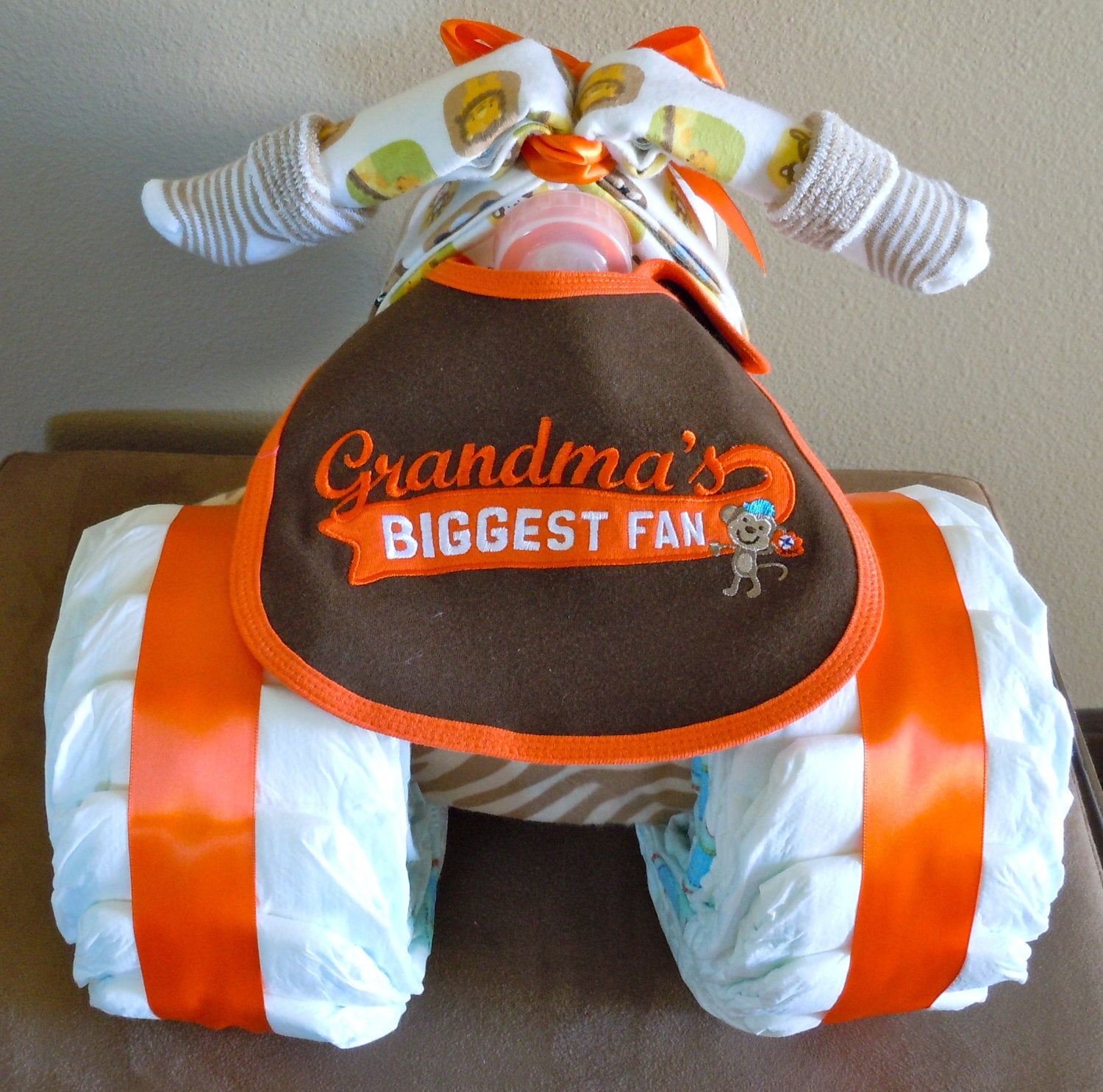 Monkey Tricycle Diaper Cake
