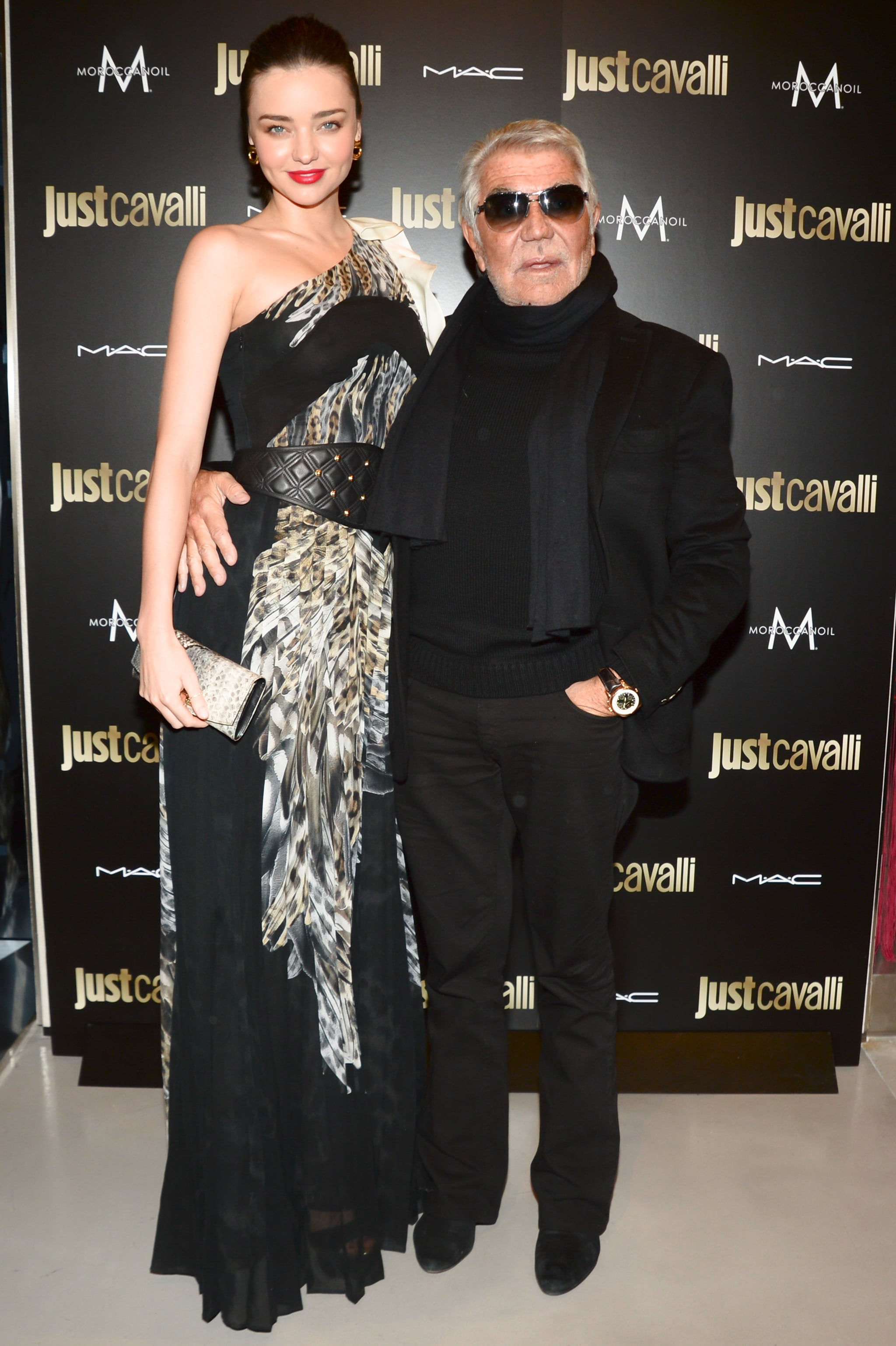 Miranda Kerr and Roberto Cavalli at the Just Cavalli cocktail party.
