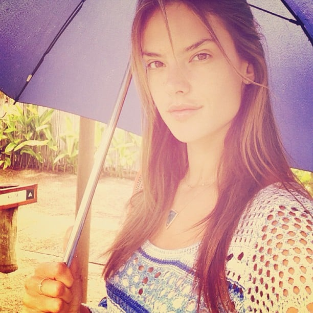 A fresh-faced Alessandra Ambrosio snapped a photo while in the rain. Source: Instagram user alessandraambrosio