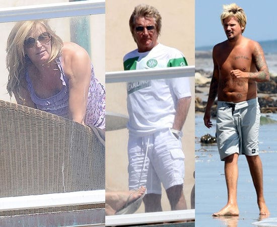 Pictures of Pregnant Penny Lancaster in Bikini Coverup and Rod Stewart With Shirtless Sean Stewart on Beach