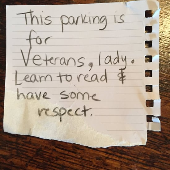 Female Veteran Parking Spot Note
