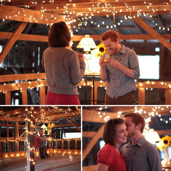 Twinkle lights, a country barn, and sunflowers give this adorable proposal some down-on-the-farm flair. And the giggling groom-to-be makes it extra cute! Photos by Landon Jacob Productions via The Wedding Chicks