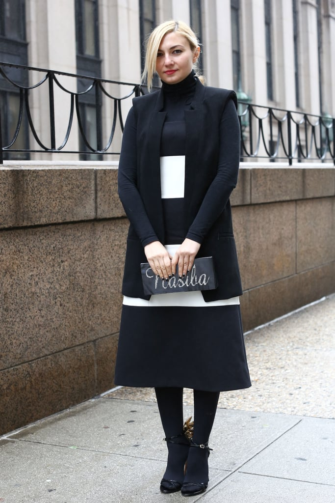 Black and white met minimalist for posh and polished street style.