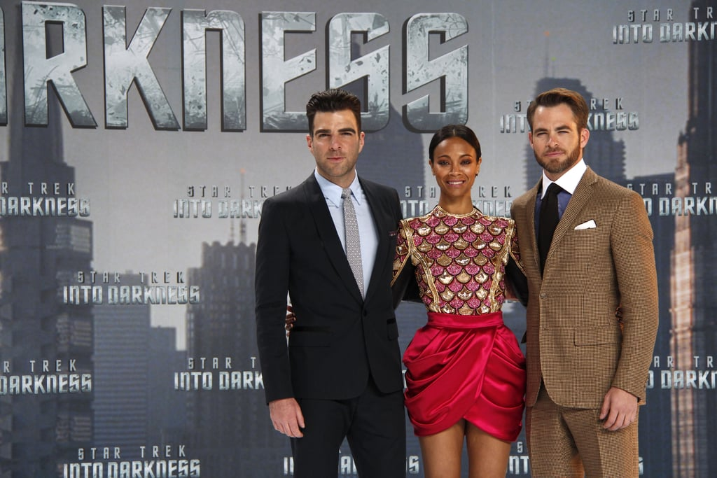 Zachary Quinto, Zoe Saldana, and Chris Pine posed at the Star Trek Into the Darkness premiere in Berlin on Monday.