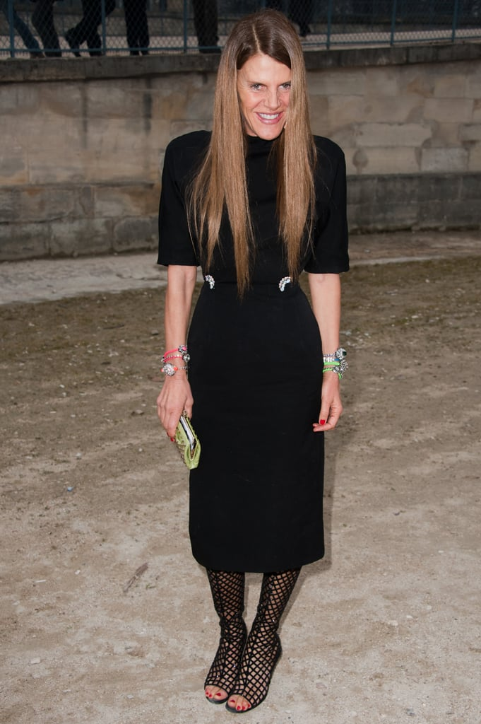 Anna Dello Russo vamped up her outfit with sexy fishnet stockings-cum-boots for the Sonia Rykiel show.