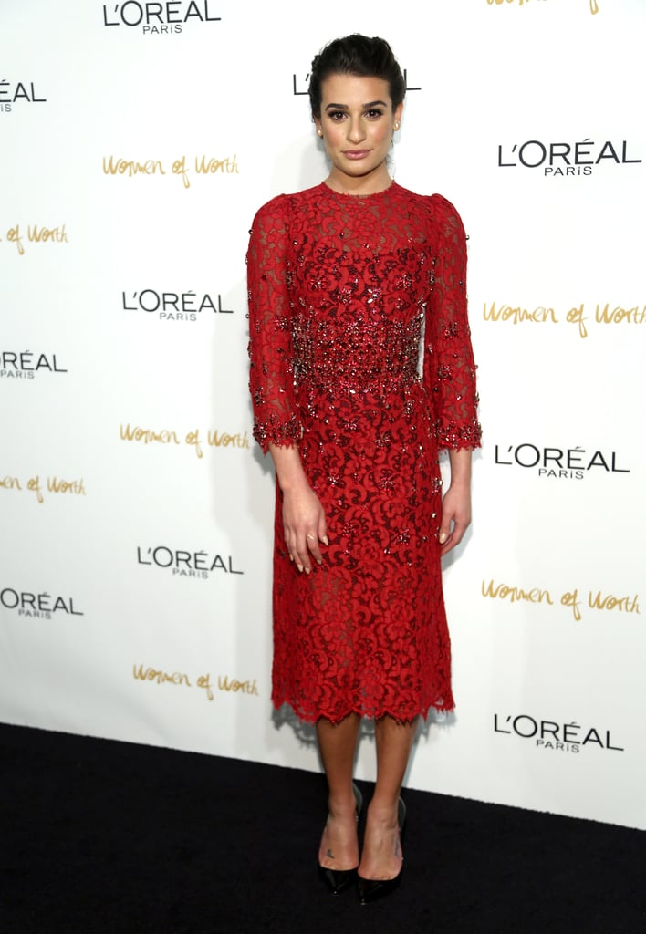 Hello, gorgeous! Lea Michele partied the night away in a decorated lace dress by Dolce & Gabbana at the Women of Worth event in December 2013. Where to Wear: Catching your favorite Broadway play.