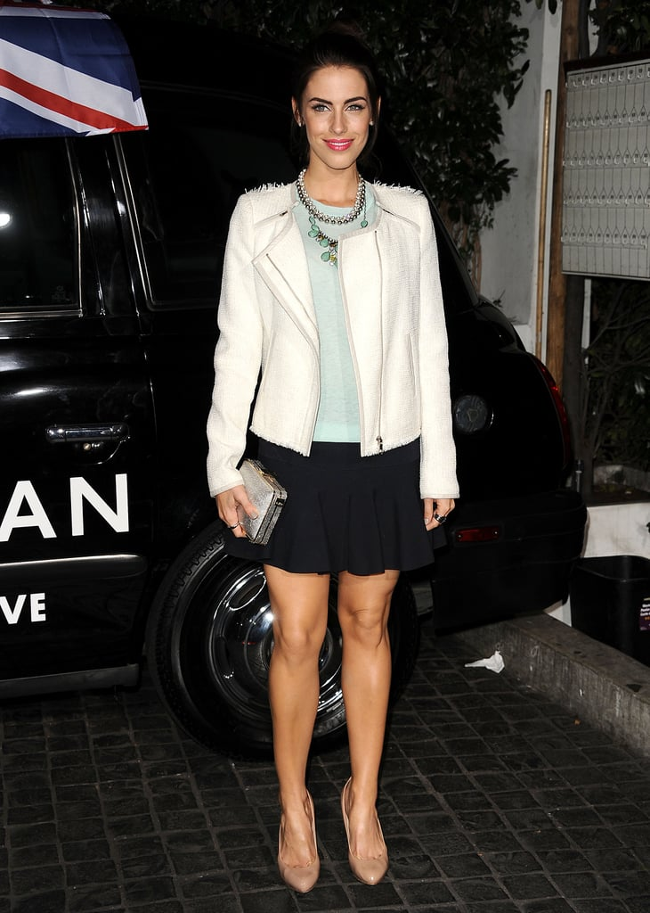 At the Topshop opening party in LA, Jessica Lowndes paired a minty tee with a white biker jacket, black shorts, and a statement necklace.