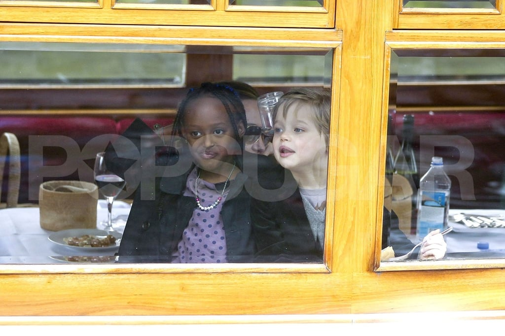 Shiloh Jolie-Pitt and Zahara Jolie-Pitt made faces in Amsterdam.