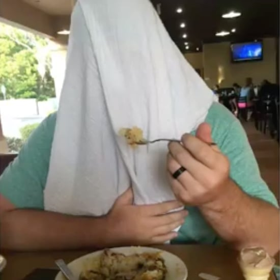Dad Puts Blanket Over Head to Support Public Breastfeeding