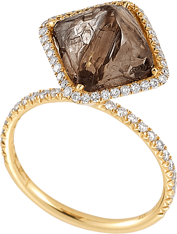 So, this ring is no joke; neither is the price tag. And there's a reason it's called the Covet ring. This Diamond in the Rough sparkler ($18,000) is covered in micro pavé diamonds and then goes bold with a rough diamond setting, too. It's definitely a piece that will make onlookers do a double take.