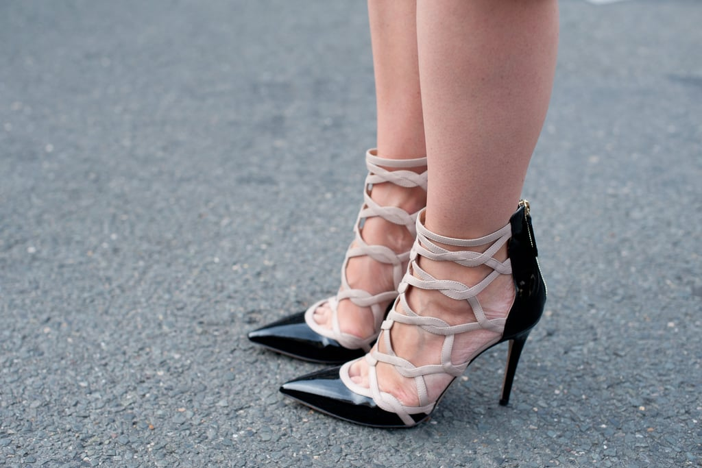 Strappy, pointed-toe pumps give the ladies-who-lunch vibe edge.