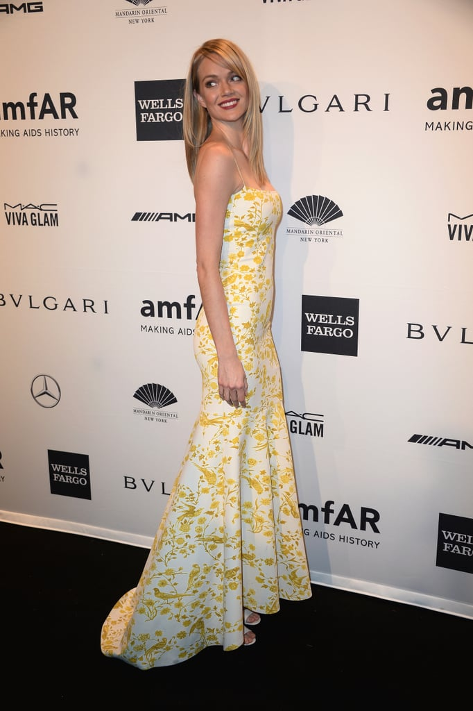 Lindsay Ellingson, wearing Wes Gordon, at amfAR's New York Gala.