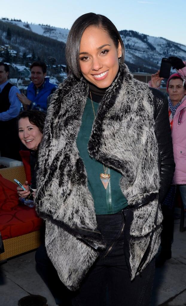 Alicia Keys was all smiles in her glamorous fur vest.