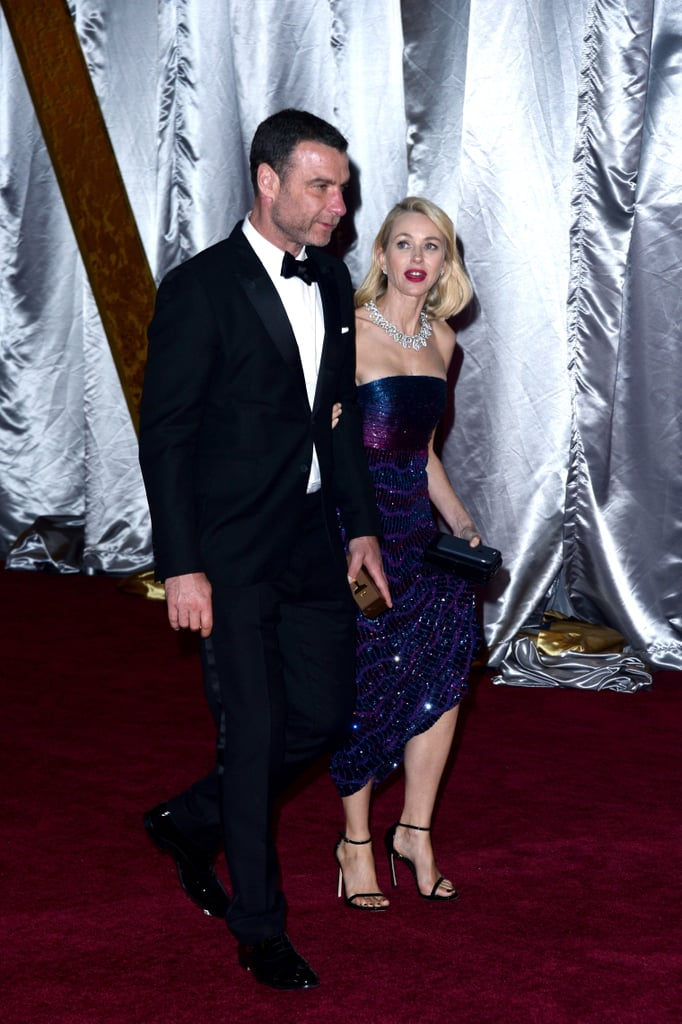 Naomi Watts Paying Careful Attention to Her Armani Privé Gown Upon Exit