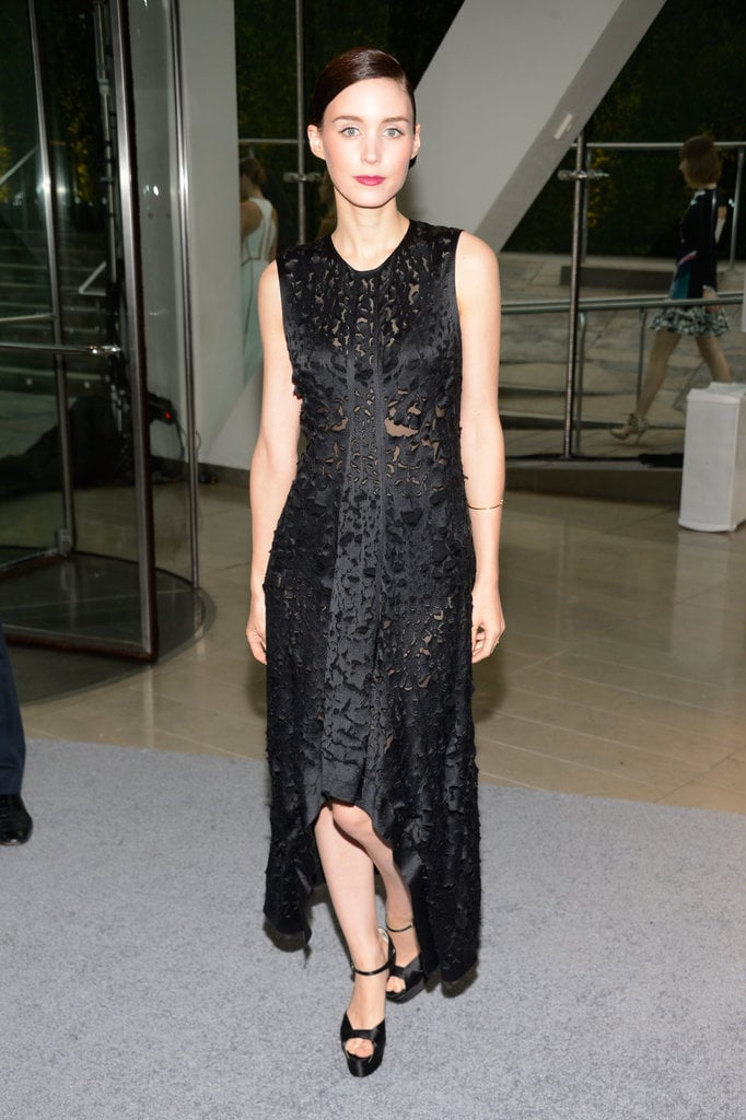 Rooney Mara made a quiet impact in her Calvin Klein Collection high-low dress and black satin ankle-strap sandals.