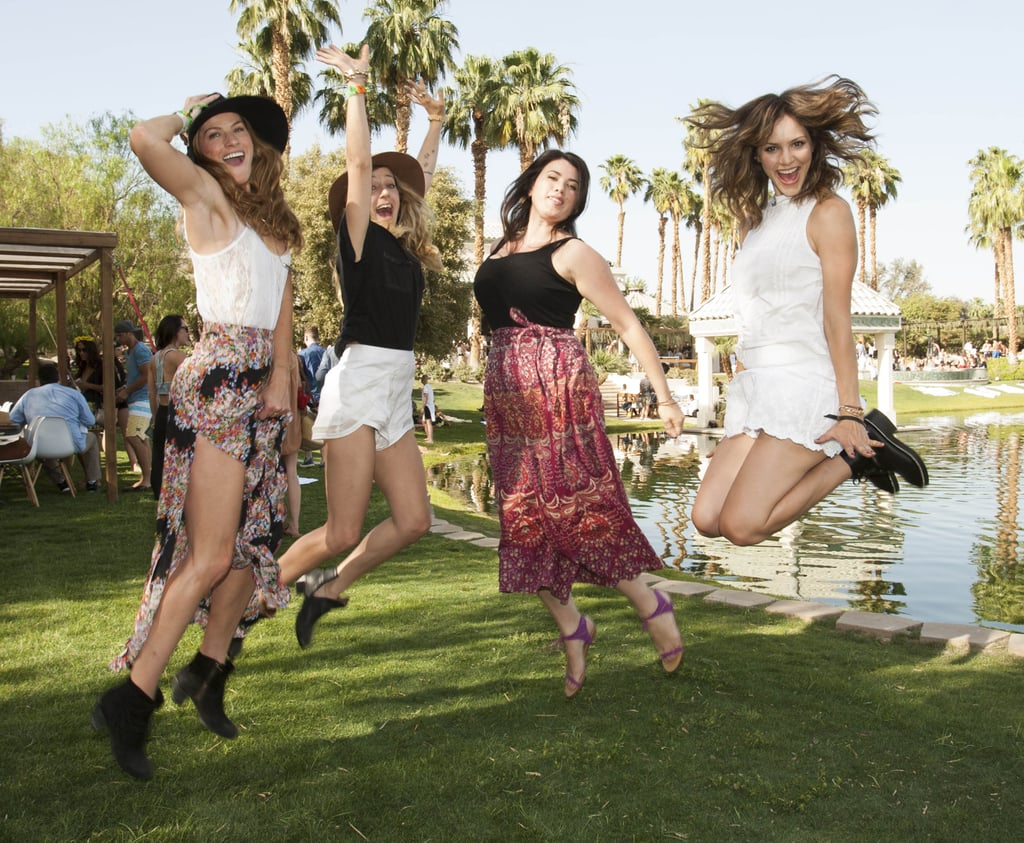Katharine McPhee jumped around with friends.