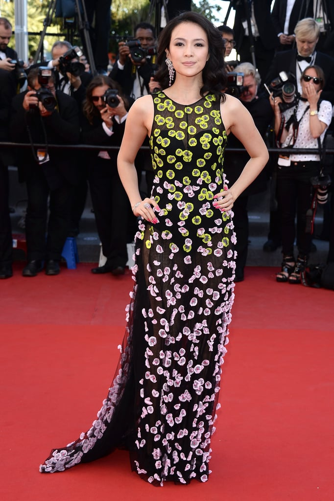 Also watching Zulu: Zhang Ziyi in brightly embroidered Dior Haute Couture.