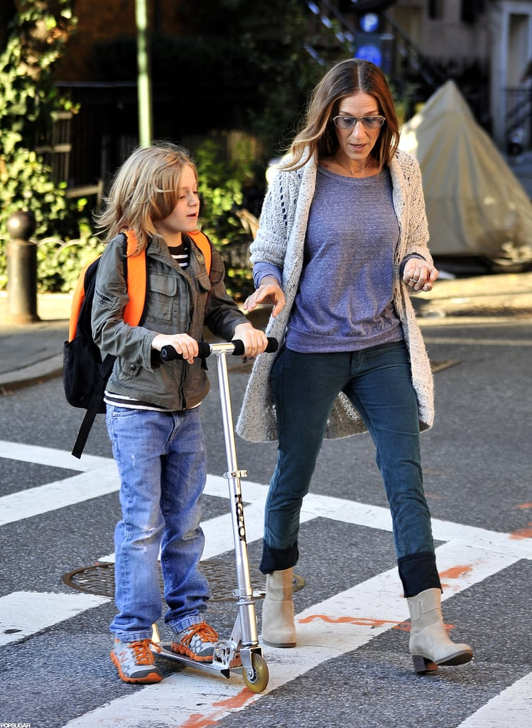 Sarah Jessica Parker and James Wilkie Broderick walked to school together in NYC.