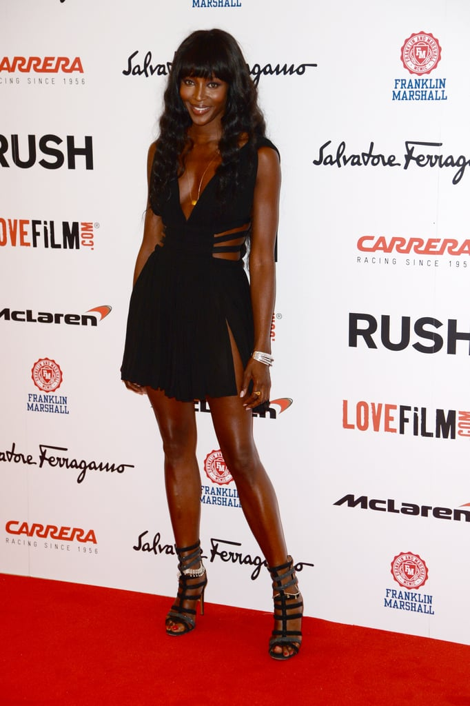 Naomi Campbell worked some not-so-basic black while stepping out for the Rush premiere.