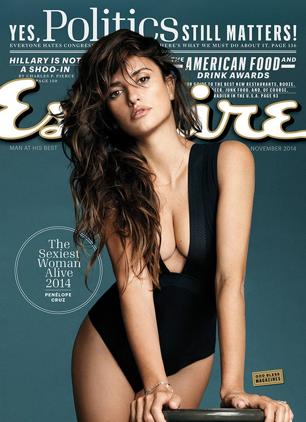 Penélope covered Esquire's November issue in a low-cut black one piece swimsuit.
