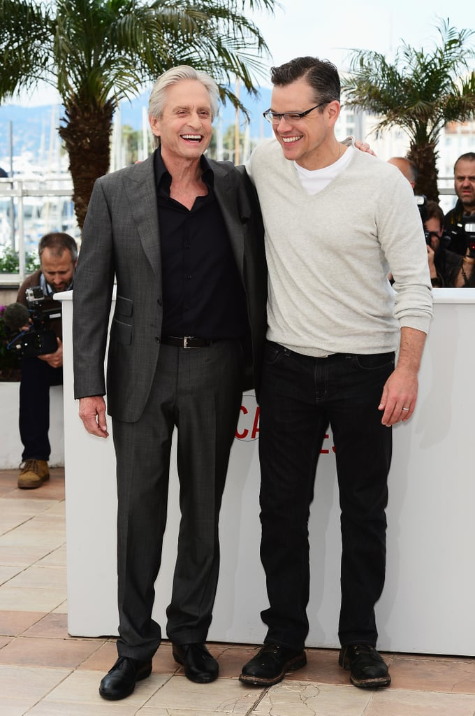 Matt Damon shared a laugh with Michael Douglas at the Behind the Candelabra photocall.