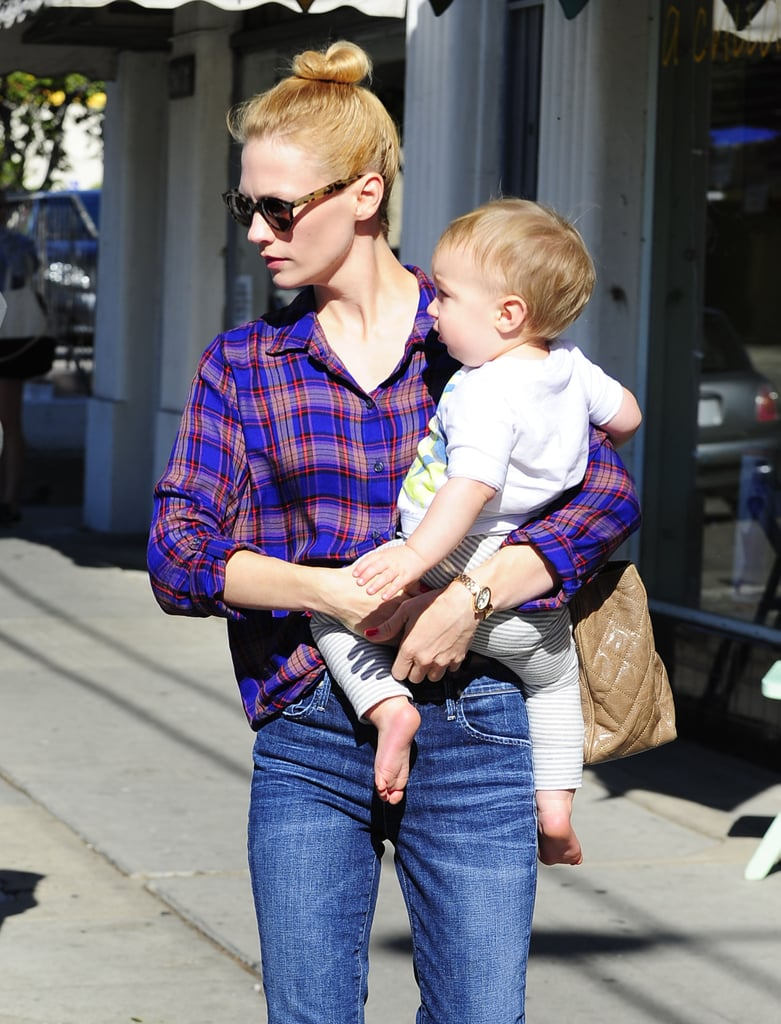 January Jones wore jeans while out in Los Feliz, CA.