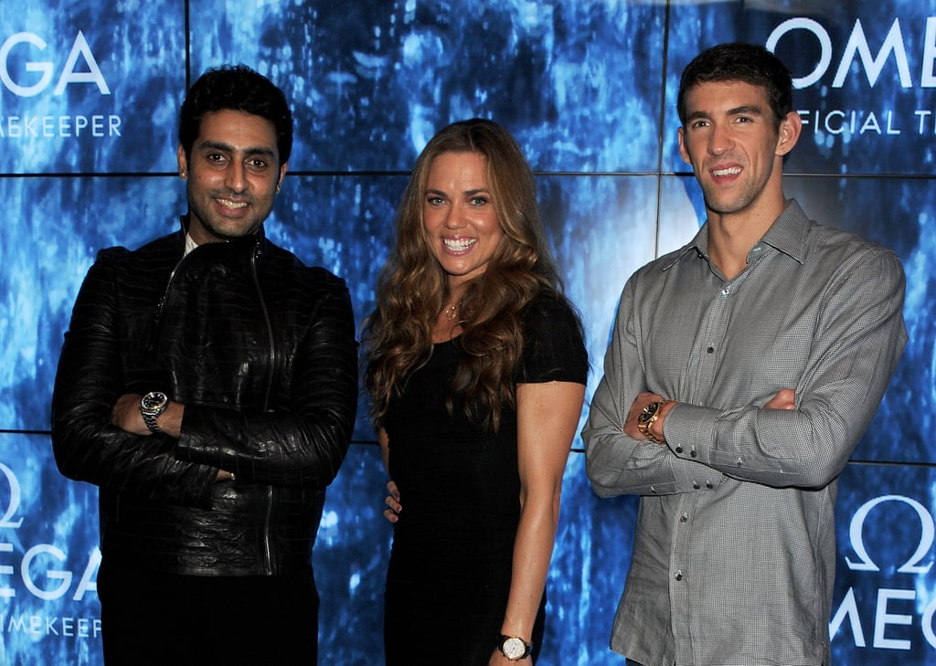 Michael Phelps got together with Natalie Coughlin and Abhishek Bachchan at a party in London.