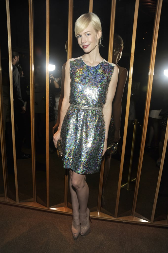 Erin Fetherston showed off a silver sequined frock at the night's afterparty.