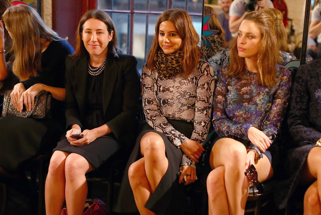 Vogue editor Edwina McCann with Christine Centenera and Jessica McNamee at Rebecca Vallance's Spring/Summer 2013 season launch in Sydney.