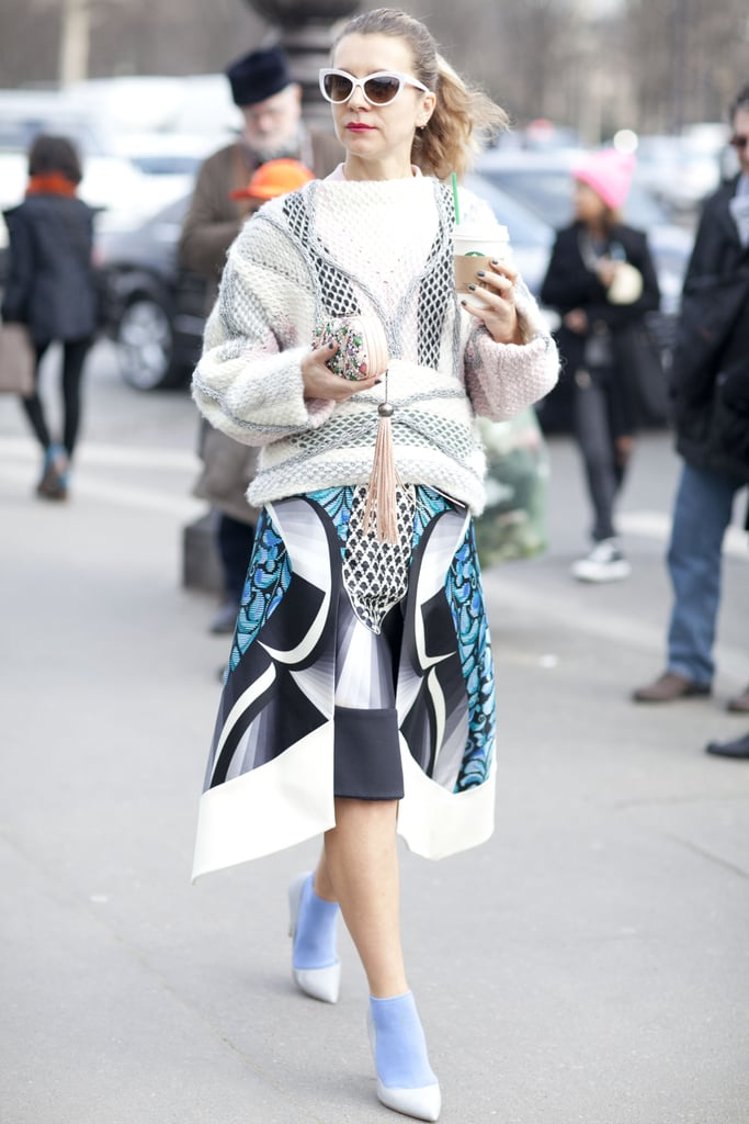 Natalie Joos sported her signature eclectic, high-fashion brand of styling.