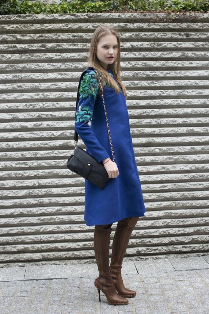 A ladylike dress with more edgy than ladylike heels.