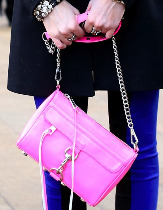 This bubblegum pink Rebecca Minkoff bag is the perfect way to add Spring pep to a Winter NYFW ensemble.