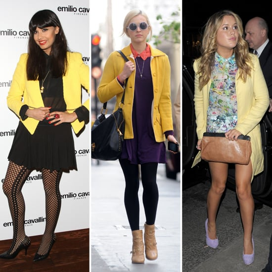 Jameela Jamil, Fearne Cotton, Caggie Dunlop Yellow Coats Trend