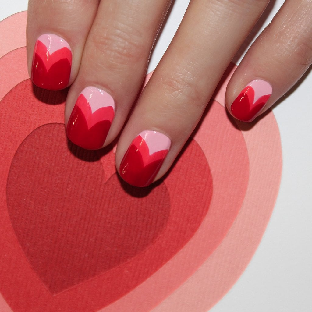 Cupid would definitely approve of this layered-heart nail art DIY.
